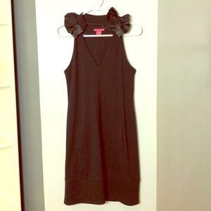 Classic black high neck ruffle dress